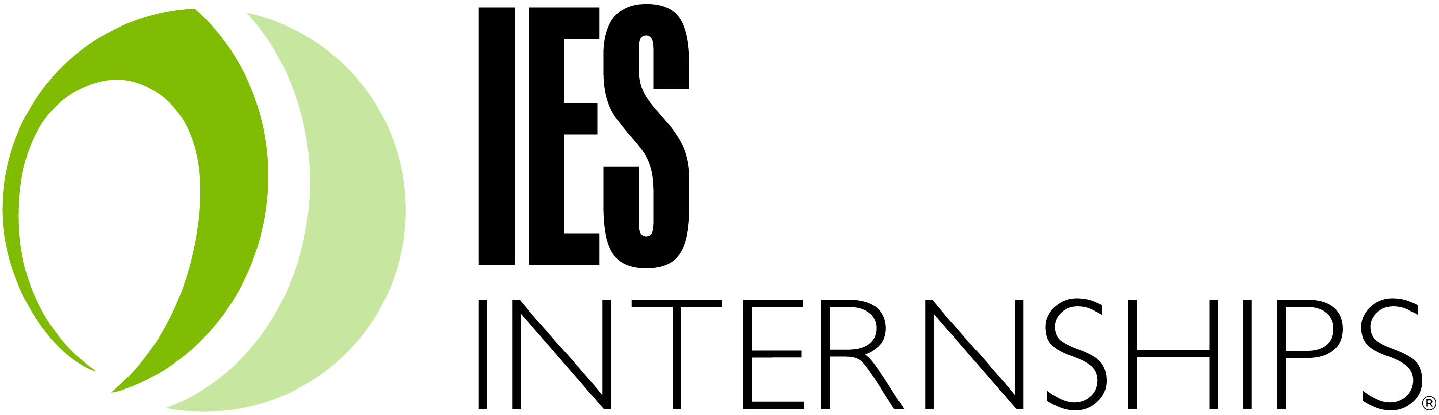 IES Internships Logo with Name and circle icon with two shades of green