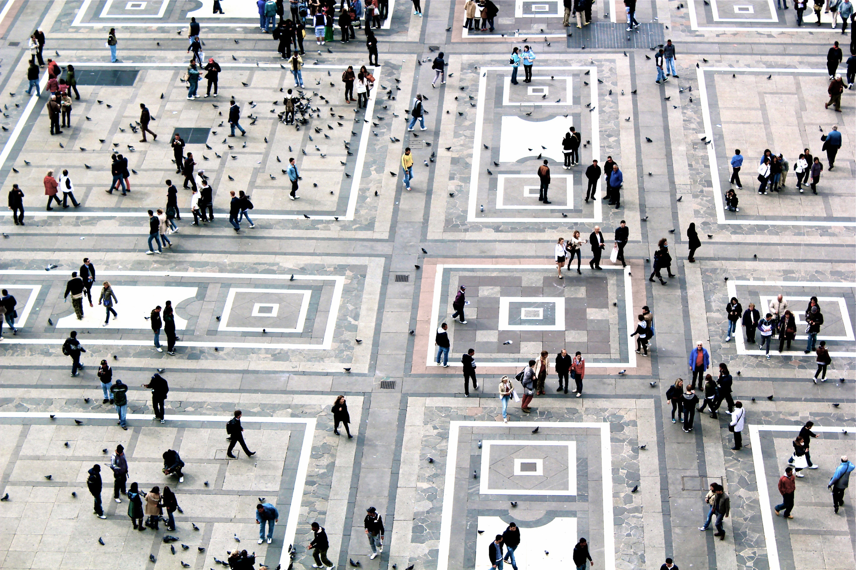 bird's eye view of Duomo square in Milan