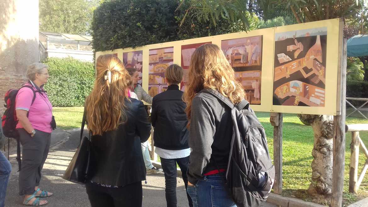 Students view examples of art along the Appian Way while studying abroad in Rome