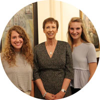 Mary M. Dwyer with two students at Annual Conference 2017