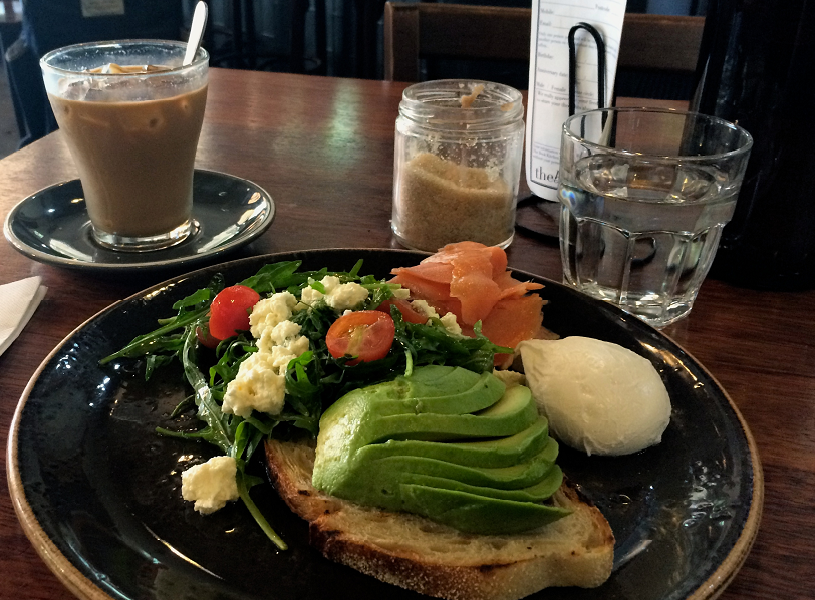 Avocado toast, salad, and coffee on study abroad in Christchurch