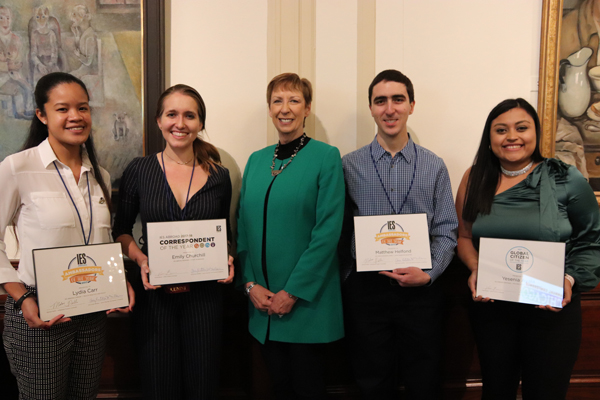 Mary M. Dwyer with student awardees