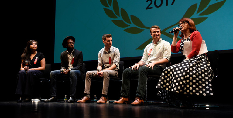 Kate Flannery hosts Q&A with IES Abroad Study Abroad Film Festival Finalists
