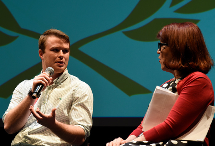 IES Abroad Study Abroad Film Festival Finalist Jake Hatfield speaking with Kate Flannery