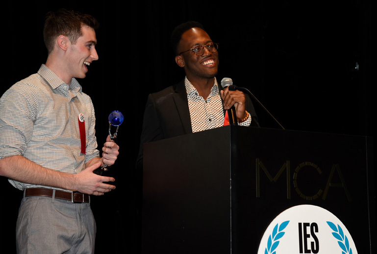 IES Abroad Study Abroad Film Festival Winners Kyle Arnold and Ismael Byers give acceptance speech