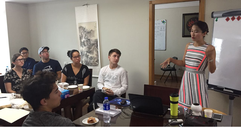 Christine Ching shares Chinese marketing strategies with students studying abroad in Shanghai.