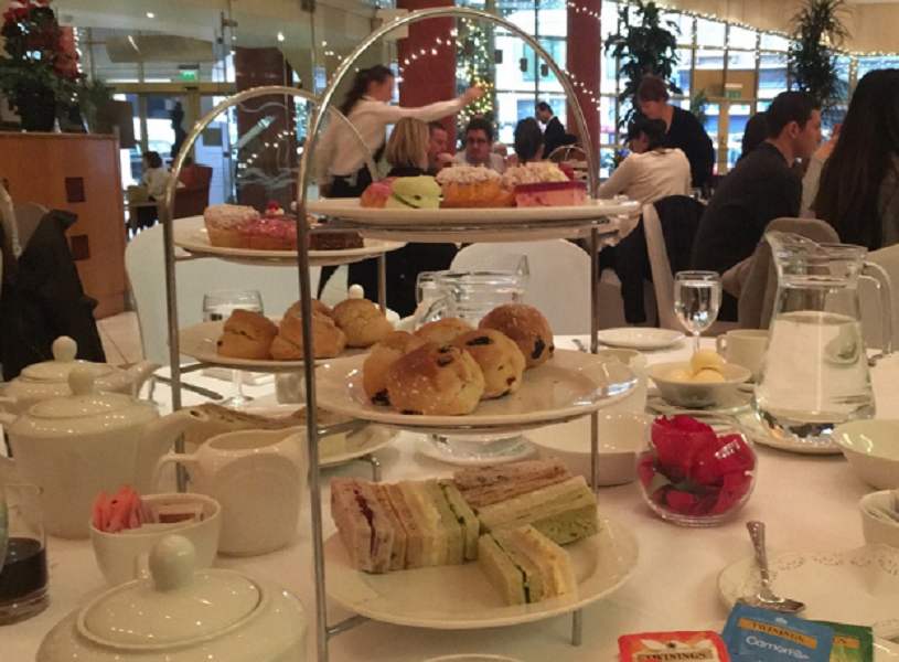Afternoon tea spread with pastry tower on study abroad in London