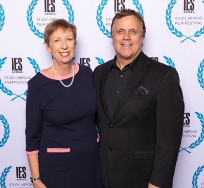 Dr. Mary M. Dwyer and Richard Roeper at the 2018 IES Abroad Film Festival Event