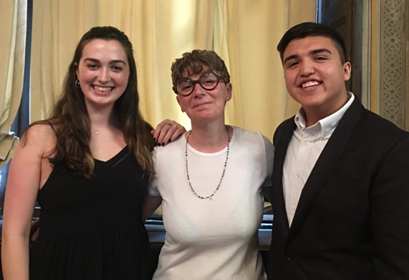 Two IES Abroad Milan students standing with Professor Sylvia Regonelli