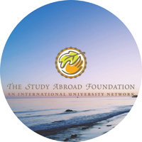 The Study Abroad Foundation logo on beach background