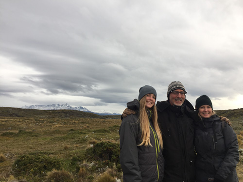 Marie with her parents in Ushuai, Argentina