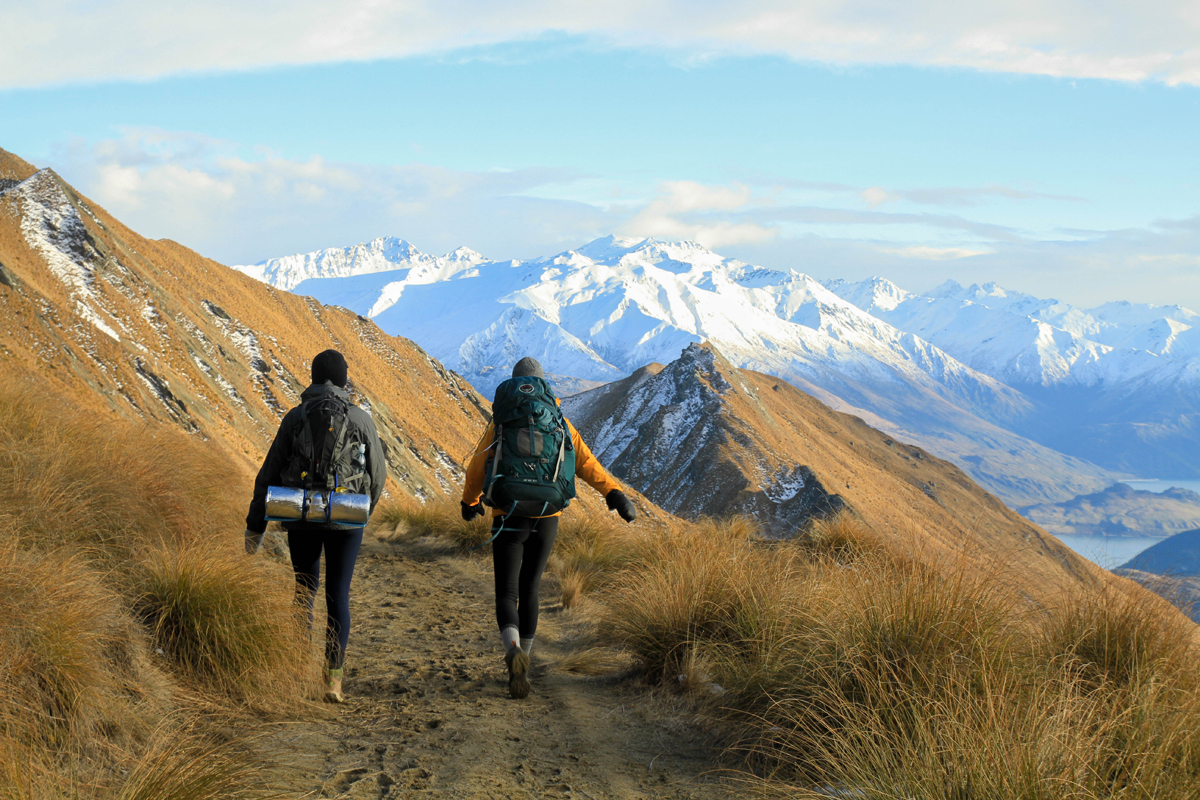 Two students hiking Roys Peak in New Zealand
