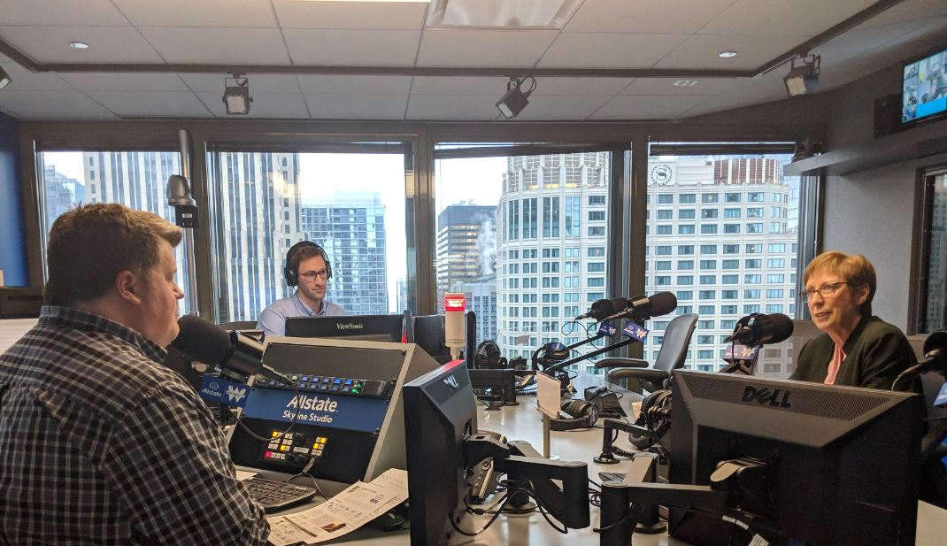 Bennett Wakenight, IES Abroad Alum interviewing Mary Dwyer. CEO and President of IES Abroad, at the WGN Radio studio