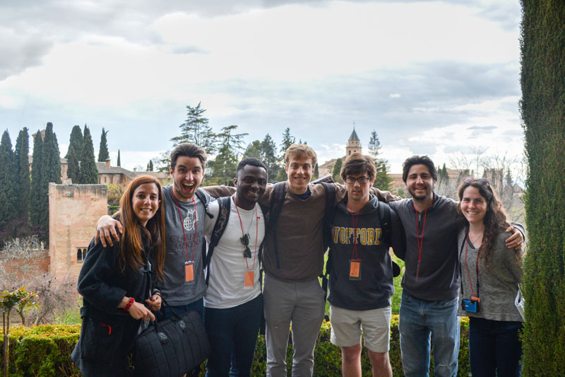 IES Abroad Professor Guash with students at Alhambra