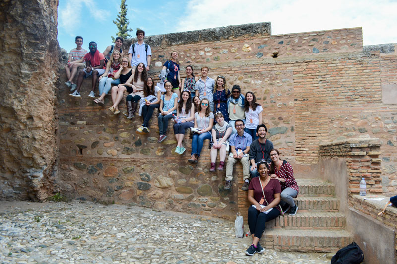 Professor Guash and IES Abroad students studying abroad in Granada