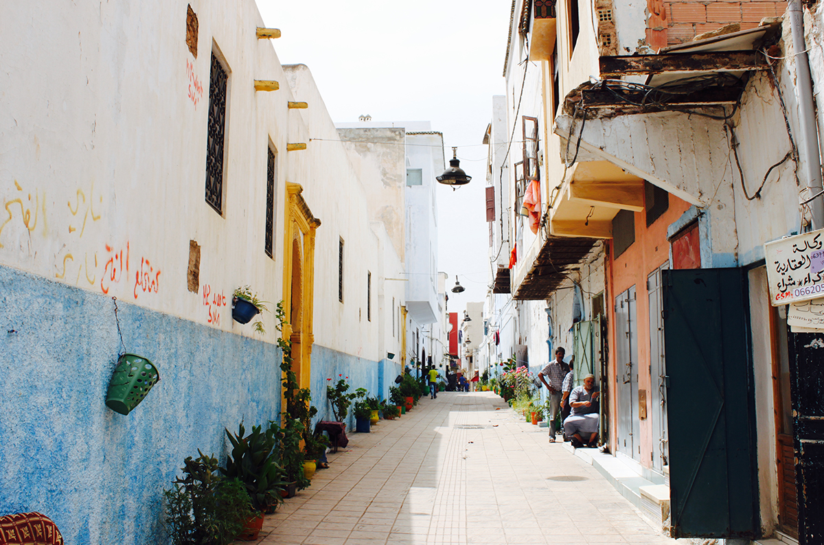 Colorful street view in Morocco