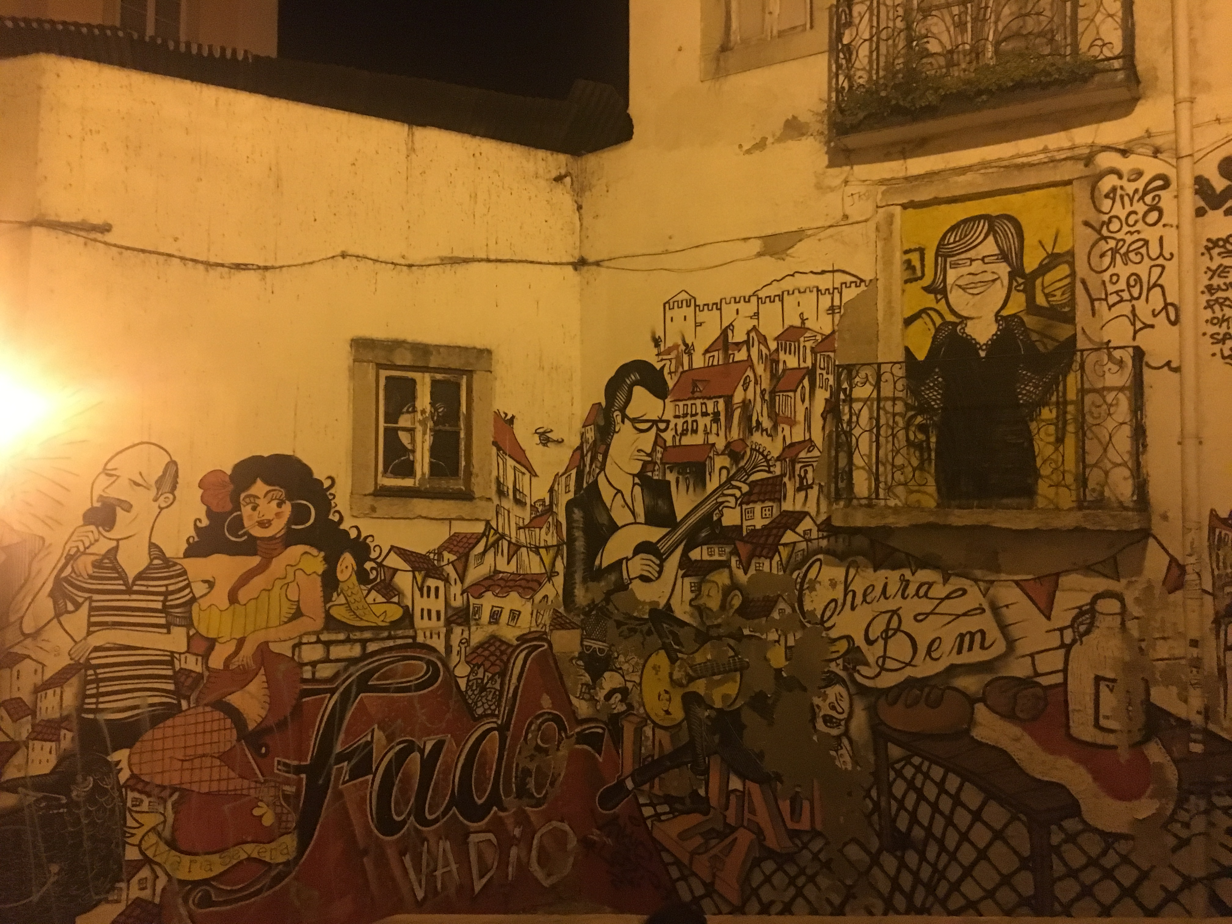 A mural of fado images
