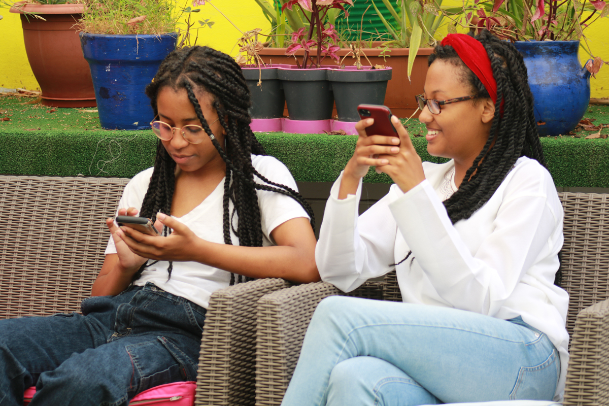 two students sitting on terrace of IES Abroad Rabat Center