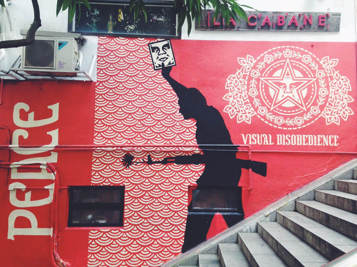 wall with street art in Hong Kong
