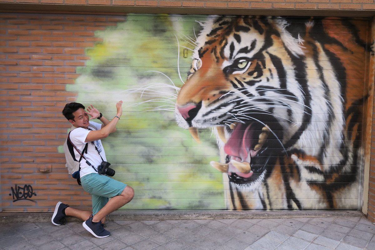 student posing in front of wall with tiger street art in Salamanca, Spain