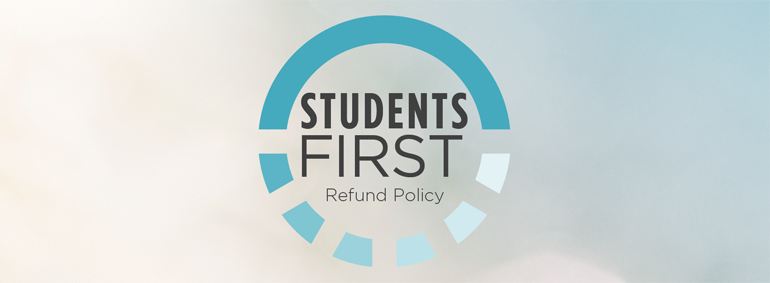 students first refund policy logo on cloud background