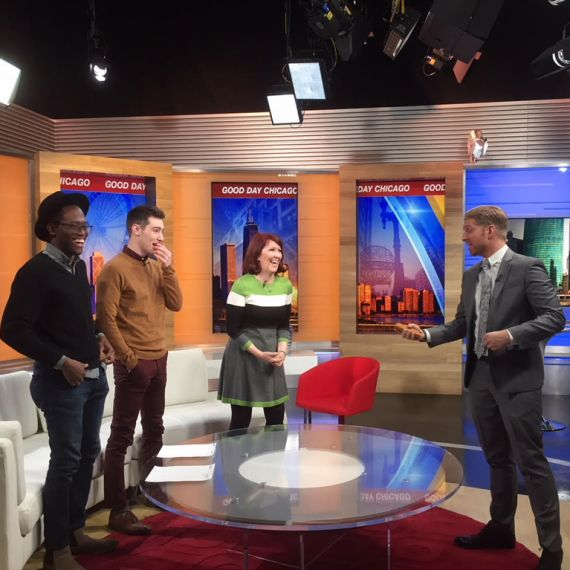 Film fest winners Ismael and Kyle with Kate Flannery and FOX 32 host on set of Good Day Chicago