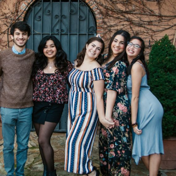 Students at a farewell part in Granada posing
