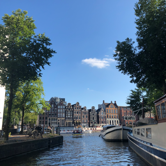 View from boat on canal in Amsterdam