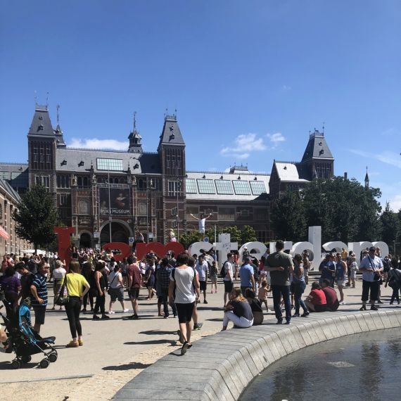View of I Amsterdam Sign and Rijksmuseum