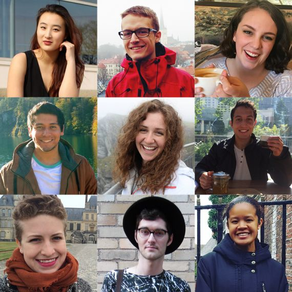 three by three grid of study abroad ambassador headshots