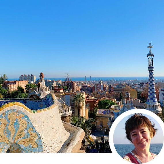 Barcelona skyline and headshot of woman smiling