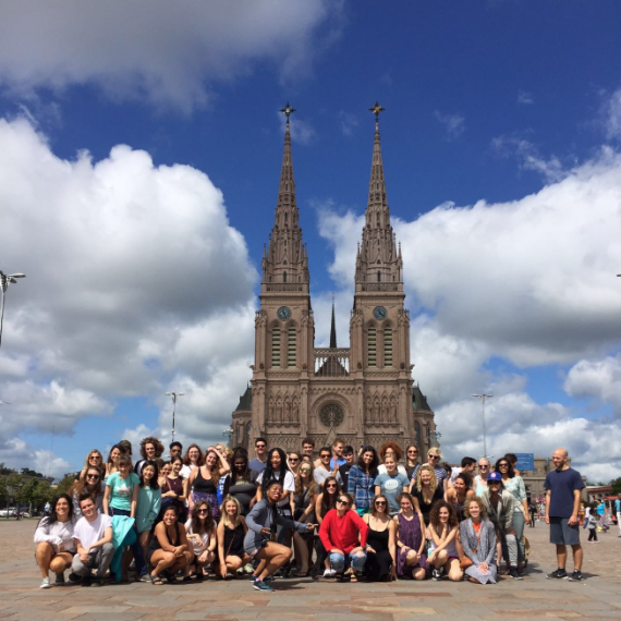 group of students in front of luján basilica in buenos aires