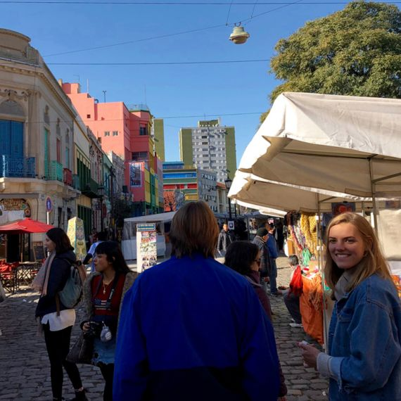 spanish study abroad students in the market of Buenos Aires, Argentina