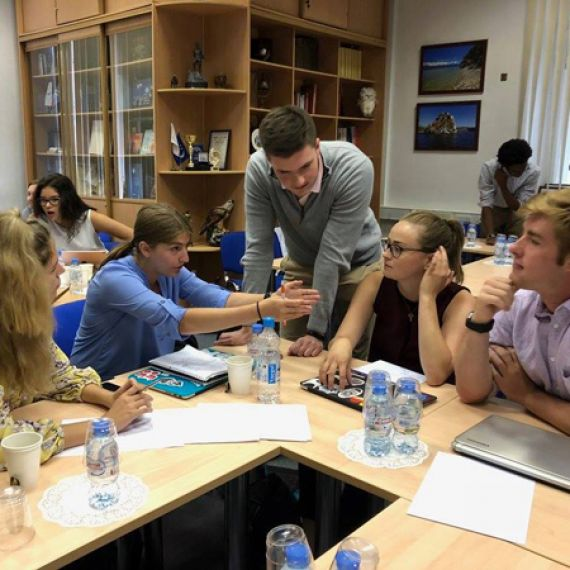 students in discussion at INES in Moscow