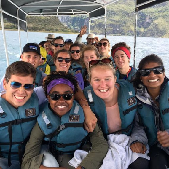 students on a boat in Ecuador