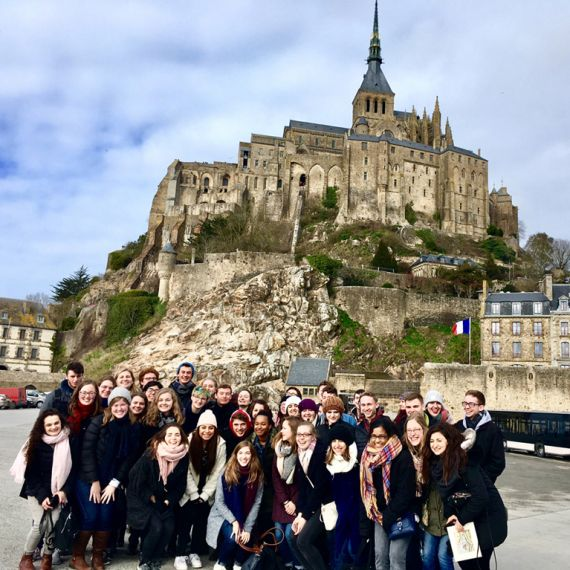 students in front of Mont Saint-Michel