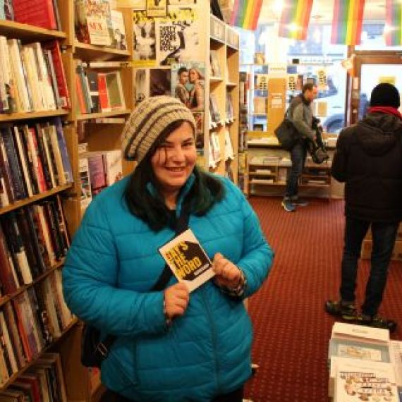 Laura Gerson in Gay's the Word bookshop in London, UK