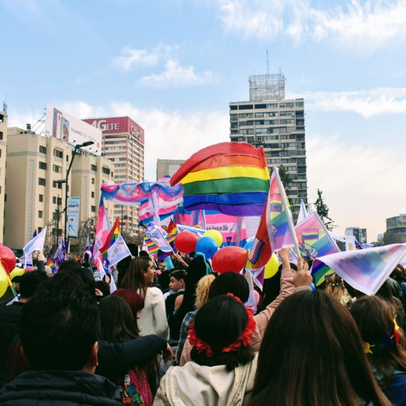 crowd holding lgbtq+ and transgender flags at pride parade in Santiago, Chile