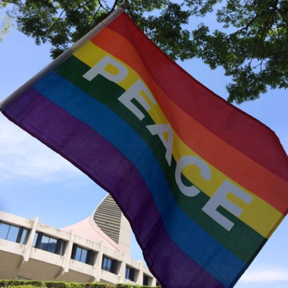 lgbtq+ rainbow pride flag with peace written on it in tokyo, japan