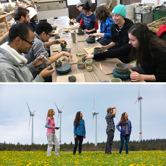 students by windmills and making pots