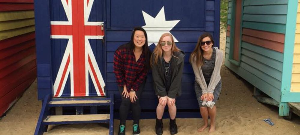 Addie, Katie, and Me in front of the Australian Flag house!