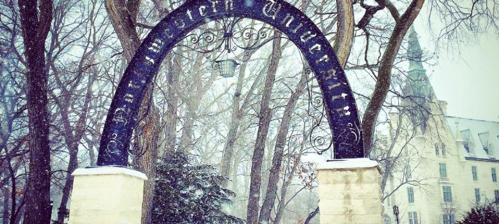 Northwestern's Arch in the Winter