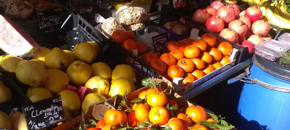 a produce stand at the market