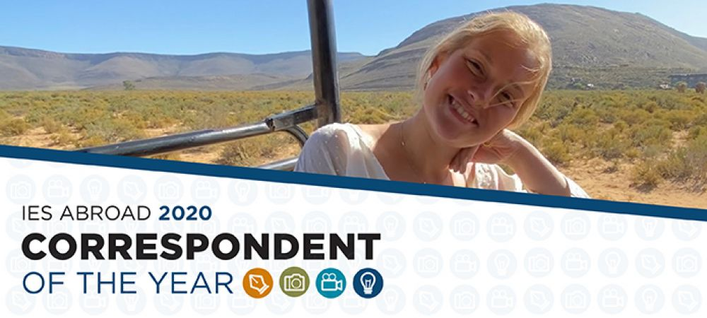 Mary on safari South Africa with Correspondent of the Year graphic laid over it