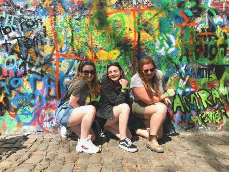 Me and my friends in front of the John Lennon wall in Prague.