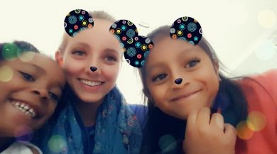 Spending time with Tayra and Daisy