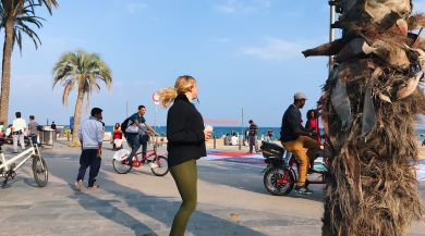 Jogging by the beach