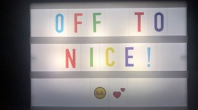 """Lightboard with """"off to Nice"""""""