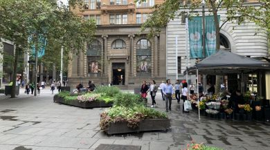 My view walking from the bus stop to the General Post Office in Martin Place, Sydney.