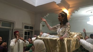 "The ""bride"" lifted above the crowd"